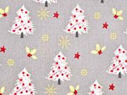 Baumwolle Weihnachtsbäume & Mistletoe, hellgrau