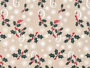 Baumwollstoff Weihnachten Mistelzweige, hellbeige