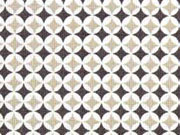 Baumwolle Mini Rauten, grau hellbeige