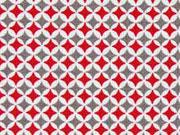Baumwollstoff Mini Rauten, grau rot cremeweiß