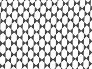 Viskose Stoff grafisches Muster,  dunkelgrau weiß