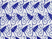 bestickter Viskosestoff Zweige Stickerei, blau weiß