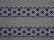 Strick Jacquard Streifenbordüren, grau blau