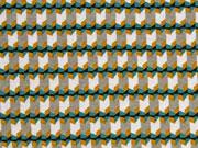 Viskosejersey grafisches Muster Retro, grün taupe