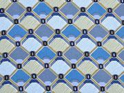 Viskose grafisches Muster Rauten, rauchblau