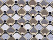 Viskose grafisches Muster Rauten, taupe