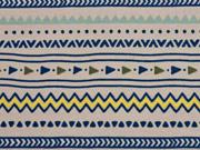 RESTSTÜCK 17 cm Bio-Jersey Inkamuster Streifen, blau beige