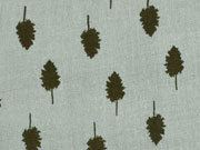 RESTSTÜCK 18 cm Double Gauze Musselin Bäume,khaki grüngrau