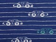 RESTSTÜCK 89 cm Sweatstoff Autos Streifen, dunkelblau