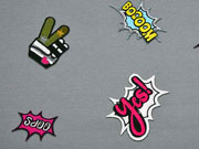 Jersey Digitaldruck Patches, pink grau