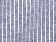 RESTSTÜCK 64cm Leinen-BW Webware Streifen, weiß dunkelblau
