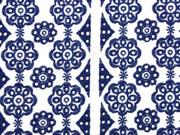 bestickte Webware Blumen Lochstickerei, dunkelblau weiß
