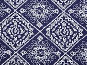 bestickter Viskosestoff Rauten Stickerei, dunkelblau