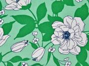 RESTSTÜCK 140 cm Viskose große Blumen, weiss leuchtend grün