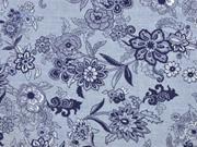 Reststück 75cm Chambray große Blumen, dunkelblau jeansblau