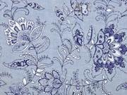 Baumwolle Chambray Blumen, dunkelblau jeansblau