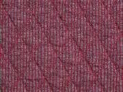 RESTSTÜCK 89 cm Steppjersey Rauten, grau dunkelrot