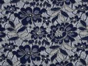 RESTSTÜCK 30 cm Strickjacquard Lace Spitzenmuster Blumen grau