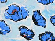 RESTSTÜCK 60 cm Viskose Javanaise Klatschmohn, blau weiss