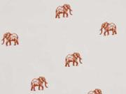 RESTSTÜCK 105cm Viskose Elefanten, rostbraun ecrue