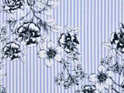 Baumwolle Streifen Blumenzweige bleu-weiss schwarz