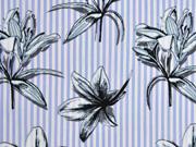 Baumwolle Streifen Lilien, blau-weiß grau
