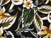 Baumwollsatin elastisch Callas Blumen schwarz senf