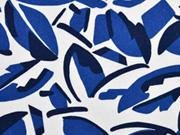 Leinen Viskose graphische Blättern blau weiss