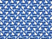 Leinen Viskose  graphisches Muster jeansblau weiss