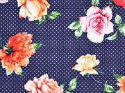 Baumwollsatin Punkte Blumen, dunkelblau