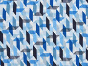 Viskosejersey grafisches Muster, weiß blau