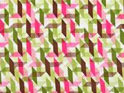 Viskosejersey grafisches Muster, khaki pink