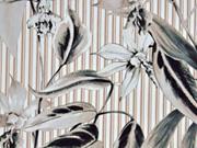 Baumwollsatin elastisch Streifen Blumen beige grün
