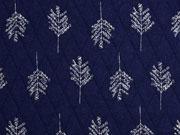 Steppjersey Bäume, ecrue auf dunkelblau