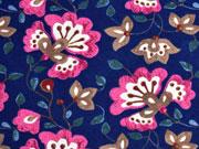weicher Flanell Kelchblumen, pink dunkelblau