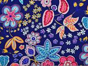 Jersey bunte Blumen, dunkelblau