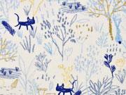 Bio-Jersey Katzen Hasen Kreidelook blau ocker