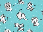 Baumwolle Zoo Tiere, mint