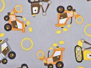 Baumwolle Baustellenfahrzeuge, grau