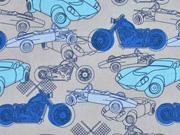 Baumwolle Autos Motorräder,  grau