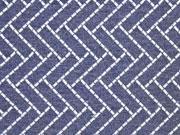 Dekostoff Jacquard Rechtecke Doubleface blau grau