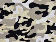 Jersey Camouflage Glitzer, beige schwarz