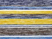 Strickjersey Streifen blau senfgelb creme