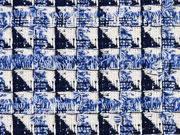 RESTSTÜCK 56 cm Boucle französischer Stil, ecrue dunkelblau