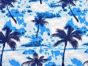 Baumwolle Popelin Palmen, blau weiss