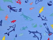 Jersey Fische und Taucher, hellblau