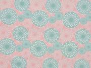 Baumwollstoff Sommerblumen, mint rosa