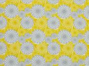 Baumwollstoff Sommerblumen, senf grau