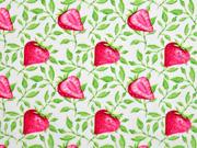 Baumwollstoff Erdbeeren, weiss rotpink
