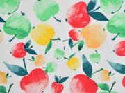 Baumwollstoff Äpfel, weiss